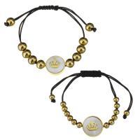 Edelstahl Woven Ball Armbänder, mit Nylonschnur & Weiße Muschel, unisex, gemischte Farben, 16x16mm,8x7mm,16x16mm,5x4mm, Länge:ca. 5-9 ZollInch, ca. 4-8 ZollInch, 2SträngeStrang/Menge, verkauft von Menge