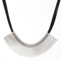 Eisen Halsketten, mit Lederband, mit Verlängerungskettchen von 50mm, plattiert, für Frau, keine, 95mmx27mm,450, verkauft per ca. 17.7 ZollInch Strang