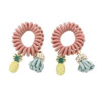 Telefon Draht Haar elastisch, Kunststoff, mit Baumwollsamt Seidenband & Zinklegierung, goldfarben plattiert, für Frau, 40x63x11mm, 3PCs/Tasche, verkauft von Tasche