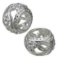 Messing Großes Loch Perlen, hohl, Silberfarbe, frei von Nickel, Blei & Kadmium, 10x7x10mm, Bohrung:ca. 5.5mm, ca. 100PCs/Menge, verkauft von Menge