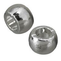 Messing European Perlen, silberfarben plattiert, frei von Nickel, Blei & Kadmium, 8x5x8mm, Bohrung:ca. 4mm, ca. 100PCs/Menge, verkauft von Menge