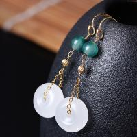 925 Sterling Silber Tropfen Ohrring, mit Jade, 14 K vergoldet, für Frau, weiß, 14mm,50mm, verkauft von Paar