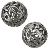 Messing hohle Perlen, silberfarben plattiert, frei von Nickel, Blei & Kadmium, 15mm, Bohrung:ca. 2mm, ca. 100PCs/Menge, verkauft von Menge