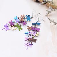 Messing Tropfen Ohrringe, Libelle, silberfarben plattiert, Einbrenn-Lack & für Frau, keine, frei von Nickel, Blei & Kadmium, 120*36mm, verkauft von Paar