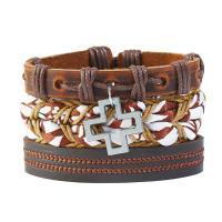PU Leder Armband-Set, mit Kunstleder & Zinklegierung, Kreuz, antik silberfarben plattiert, unisex, 60mm, Länge:ca. 7.08 ZollInch, 3SträngeStrang/setzen, verkauft von setzen