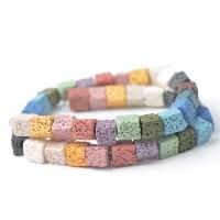 Natürliche Lava Perlen, Quadrat, DIY & verschiedene Größen vorhanden, keine, verkauft per ca. 14 ZollInch Strang