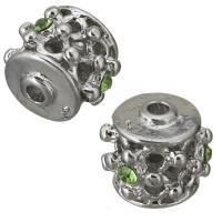 Messing hohle Perlen, silberfarben plattiert, mit Strass, frei von Nickel, Blei & Kadmium, 12x11x12mm, Bohrung:ca. 2.5mm, ca. 100PCs/Menge, verkauft von Menge