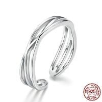 925er Sterling Silber Manschette Fingerring, platiniert, für Frau & hohl, 4mm, Größe:6-8, verkauft von PC