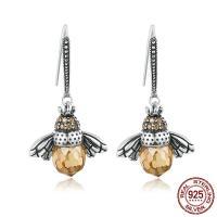 925er Sterling Silber Tropfen Ohrring, Biene, versilbert, für Frau & mit kubischem Zirkonia, 17x30mm, verkauft von Paar