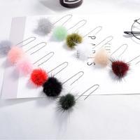 Zinklegierung Gewinde durch Ohrringe, mit Plüsch, silberfarben plattiert, Koreanischen Stil & für Frau, keine, frei von Nickel, Blei & Kadmium, 32x126mm, verkauft von Paar
