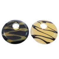 Mode Lampwork Anhänger, flache Runde, gemischte Farben, 50x7mm, Bohrung:ca. 12mm, 12PCs/Box, verkauft von Box