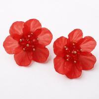 Zinklegierung Ohrstecker, mit Harz, Zinklegierung Stecker, Blume, plattiert, für Frau, keine, frei von Blei & Kadmium, verkauft von Paar