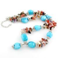 Edelstein Schmuck Halskette, mit Messing, mit Verlängerungskettchen von 5.5cm, Klumpen, Platinfarbe platiniert, für Frau, gemischte Farben, 26x13x13mm, verkauft per ca. 21.2 ZollInch Strang