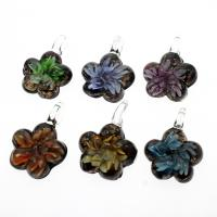 Innen Blume Lampwork Anhänger, Goldsand, gemischte Farben, 36x47x15mm, Bohrung:ca. 9mm, 12PCs/Box, verkauft von Box
