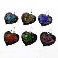 Innen Blume Lampwork Anhänger, Herz, Goldsand, gemischte Farben, 37x47x16mm, Bohrung:ca. 7mm, 12PCs/Box, verkauft von Box