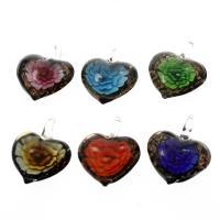 Innen Blume Lampwork Anhänger, Herz, Goldsand, gemischte Farben, 35x42x15mm, Bohrung:ca. 7mm, 12PCs/Box, verkauft von Box