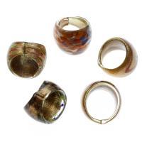 Lampwork Fingerring, unisex & Goldsand & innen Blume, gemischte Farben, 26x21mm, Größe:9.5, 12PCs/Box, verkauft von Box