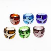 Lampwork Fingerring, unisex & Silberpulver, gemischte Farben, 25x22mm, Größe:8, 12PCs/Box, verkauft von Box
