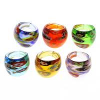 Lampwork Fingerring, unisex & Goldsand & innen Blume, gemischte Farben, 25x22mm, Größe:8, 12PCs/Box, verkauft von Box