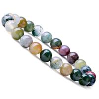 gemischter Achat Armband, mit elastischer Faden, rund, unisex, farbenfroh, 8mm, Länge:ca. 6.9 ZollInch, 10SträngeStrang/Menge, verkauft von Menge