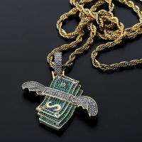 Messing Pullover Halskette, goldfarben plattiert, Micro pave Zirkonia & für den Menschen, grün, frei von Nickel, Blei & Kadmium, 38x42mm, verkauft per ca. 24 ZollInch Strang