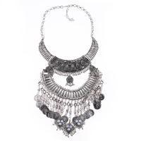 Zinklegierung Schmuck Halskette, Zinklegierung Karabinerverschluss, plattiert, für Frau, keine, frei von Blei & Kadmium, verkauft von Strang