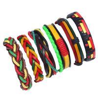 Kuhhaut Armband-Set, mit Hanfgarn & PU Leder & Zinklegierung, unisex & gewebte Muster, farbenfroh, 180mm, Länge:ca. 7 ZollInch, verkauft von setzen