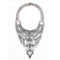 Zinklegierung Schmuck Halskette, Zinklegierung Karabinerverschluss, plattiert, verschiedene Stile für Wahl & für Frau & mit Strass, Silberfarbe, frei von Blei & Kadmium, verkauft von Strang