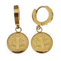 Edelstahl Huggie Hoop Ohrhänger, flache Runde, für Frau, Goldfarbe, 33mm,14x18mm, 12PaarePärchen/Menge, verkauft von Menge
