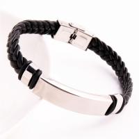 Titanstahl Armband, mit Lederband, silberfarben plattiert, unisex, 190mm, verkauft per ca. 7.5 ZollInch Strang