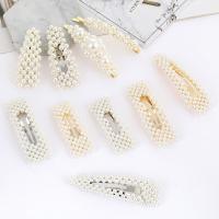 Haarschieber, Zinklegierung, mit ABS-Kunststoff-Perlen, plattiert, verschiedene Stile für Wahl & für Frau, frei von Nickel, Blei & Kadmium, 10PCs/Menge, verkauft von Menge