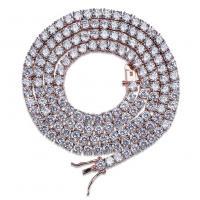 Messing Halskette, mit kubischer Zirkonia, Messing Ring-Ring Verschluss, plattiert, unterschiedliche Länge der Wahl & für den Menschen, keine, frei von Nickel, Blei & Kadmium, 4mm, verkauft von setzen