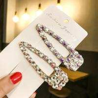 Haarschieber, Zinklegierung, mit Kunststoff Perlen, verschiedene Stile für Wahl & für Frau & mit Strass, keine, frei von Nickel, Blei & Kadmium, 60*18mm, 3PCs/Menge, verkauft von Menge