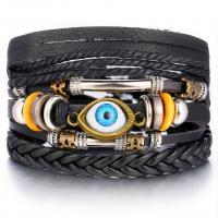 PO Leder Armband-Set, mit Zinklegierung, plattiert, böser Blick- Muster & für den Menschen, schwarz, frei von Nickel, Blei & Kadmium, 450mm, verkauft von PC