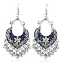 Zinklegierung Ohrringe, silberfarben plattiert, für Frau & Emaille, keine, frei von Nickel, Blei & Kadmium, 40x70mm, verkauft von Paar