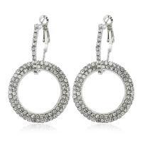 Zinklegierung Hebel Rückseiten Ohrring, Kreisring, plattiert, für Frau & mit Strass, keine, frei von Nickel, Blei & Kadmium, 32x54mm, verkauft von Paar