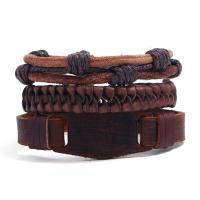 Kunstleder Armband, mit Hanfgarn & PU Leder, für den Menschen & Multi-Strang, braun, Länge:ca. 6 ZollInch, 10SträngeStrang/Menge, verkauft von Menge