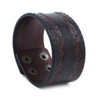 Kunstleder Armband, mit Zinklegierung, Zinklegierung Druckknopf Verschluss, für den Menschen, braun, 38x232mm, 10SträngeStrang/Menge, verkauft von Menge