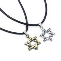 Zinklegierung Schmuck Halskette, mit Lederband, plattiert, unisex, keine, frei von Blei & Kadmium, 28x28mm, Länge:ca. 18 ZollInch, 10SträngeStrang/Menge, verkauft von Menge