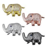 Messing Diacharme, Elephant, plattiert, Micro pave Zirkonia, keine, frei von Nickel, Blei & Kadmium, 26x15x8mm, 10PCs/Menge, verkauft von Menge