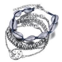 Zinklegierung Armband-Set, mit Baumwollfaden, plattiert, unisex, Silberfarbe, frei von Nickel, Blei & Kadmium, 200mm,215x50mm,200x50mm,195x50mm, verkauft von Paar