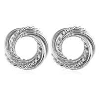 Zinklegierung Ohrstecker, Kreisring, plattiert, für Frau, keine, frei von Nickel, Blei & Kadmium, 28x28mm, verkauft von Paar