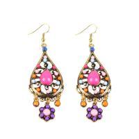 Zinklegierung Ohrringe, mit Seedbead, goldfarben plattiert, für Frau, farbenfroh, frei von Nickel, Blei & Kadmium, 90mm, verkauft von Paar