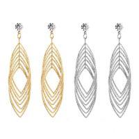 Zinklegierung Ohrringe, mit Kristall, plattiert, für Frau, keine, frei von Nickel, Blei & Kadmium, 33x95mm, verkauft von Paar