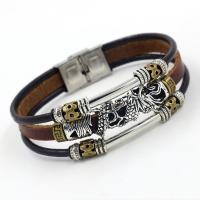 Leder Armband, mit Edelstahl & Zinklegierung, Zinklegierung Ring-Ring Verschluss, plattiert, für den Menschen & Multi-Strang, braun, Länge:ca. 8 ZollInch, 10PCs/Menge, verkauft von Menge