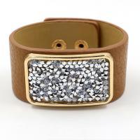 PU Leder Armband, mit Zinklegierung, goldfarben plattiert, unisex & mit Strass, keine, Länge:ca. 8 ZollInch, 10SträngeStrang/Menge, verkauft von Menge