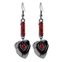 Zinklegierung Ohrringe, Herz, für Frau & mit Strass, frei von Nickel, Blei & Kadmium, verkauft von Paar