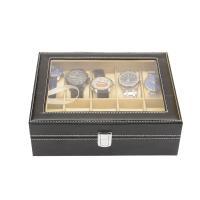 Holz Uhrkasten, mit PU Leder, unisex & wasserdicht, braun, 300x200x80mm, verkauft von PC