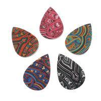 PU Leder Anhänger, Tropfen, verschiedene Muster für Wahl, keine, 37x56x2mm, Bohrung:ca. 1mm, ca. 50PCs/Tasche, verkauft von Tasche