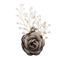 Messing Brosche, mit Stoff & Natürliche kultivierte Süßwasserperlen, Blume, plattiert, Mit Verpackungskasten & für Frau, schwarz, frei von Nickel, Blei & Kadmium, 89x50x17mm, verkauft von PC